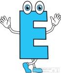 letter E cartoon alphabet clipart