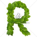 Letter R green leaves
