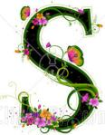 Letter S black with pink flowers