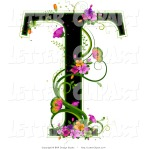 Letter T with pink flowers