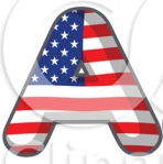 Letter A American flag colors