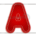 Letter A red with white stitching