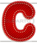 Letter C red with white stitching