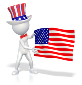 Stick figure with flag