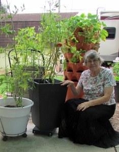 Lorraine with tomato plants