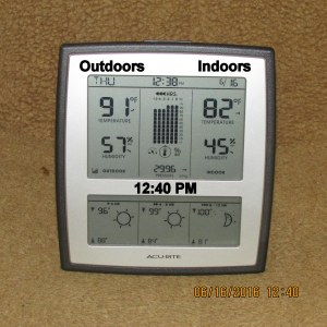 Temperature on weather station
