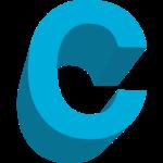 Letter C aqua blue, large