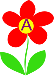 Letter A in the middle of a flower