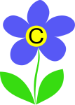 Letter C in the middle of a flower