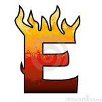 Letter E flaming hot