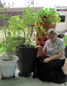 Lorraine with tomato plants and Garden Tower